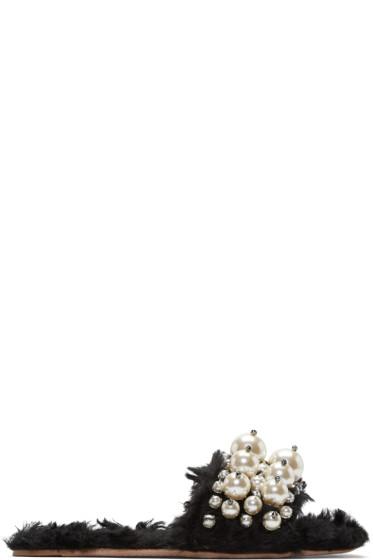 Miu Miu - Black Faux Shearling & Pearl Sandals