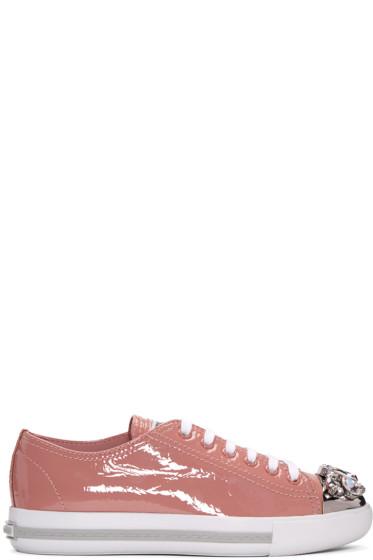 Miu Miu - Pink Patent Crystal Sneakers