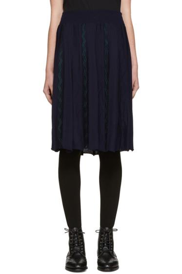Harikae  - Navy Knit Pleated Skirt