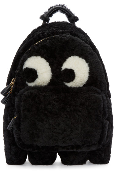 Anya Hindmarch - Black Shearling Ghost Furry Backpack