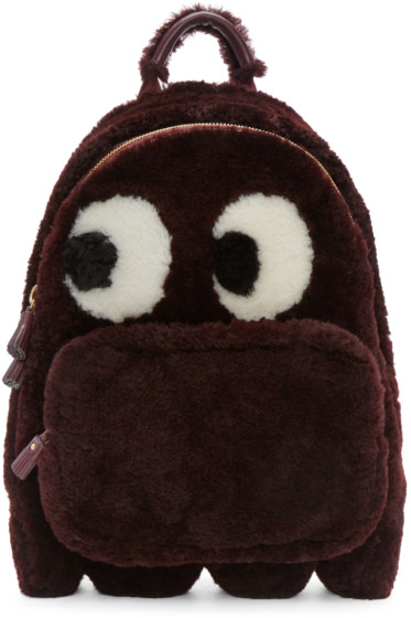 Anya Hindmarch - Burgundy Shearling Ghost Furry Backpack