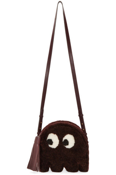 Anya Hindmarch - Burgundy Shearling Ghost Furry Bag