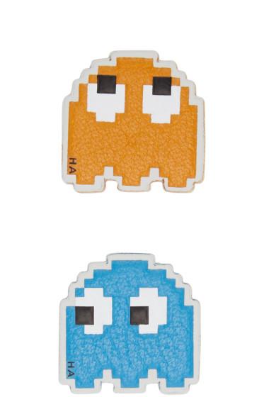 Anya Hindmarch - Orange & Blue Leather Mini Ghosts Stickers
