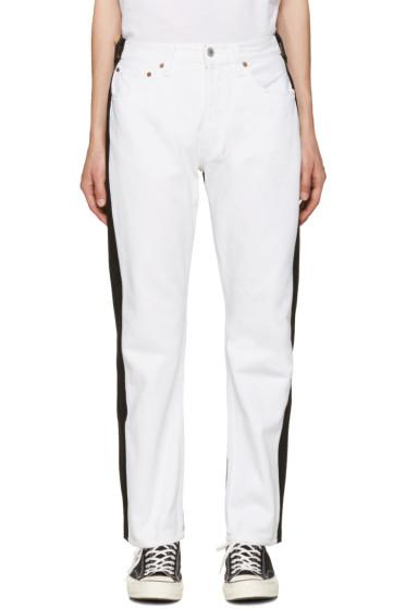 Bless - White & Black Pleatfront Jeans