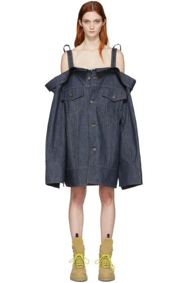 Matthew Adams Dolan - Indigo Denim Falling Cuff Off-the-Shoulder Jacket