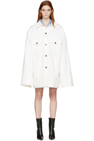 Matthew Adams Dolan - White Denim Falling Cuff Jacket