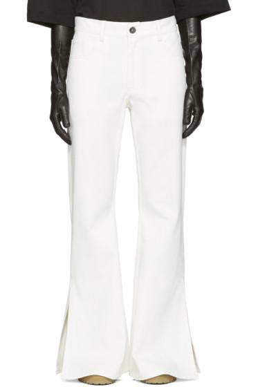 Matthew Adams Dolan - White Flared Split Hem Jeans