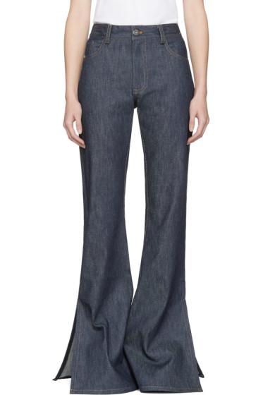 Matthew Adams Dolan - Indigo Flared Split Hem Jeans