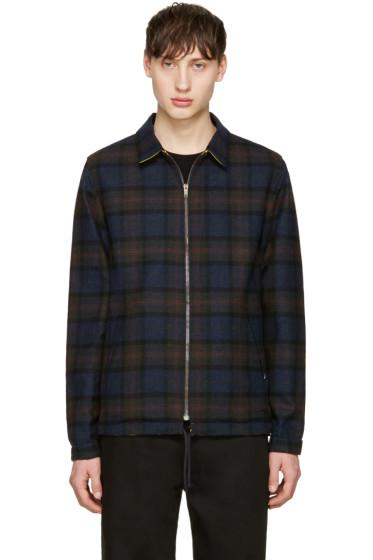 Noah - Reversible Black Plaid Coaches Jacket