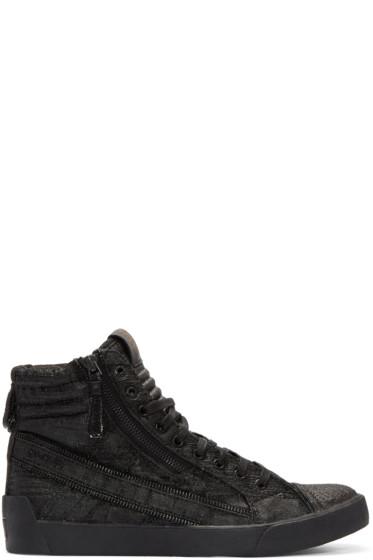 Diesel - Black D-String Plus High-Top Sneakers