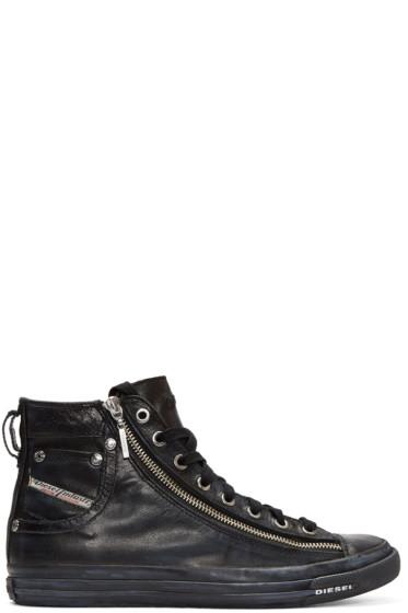 Diesel - Black Expo-Zip High-Top Sneakers