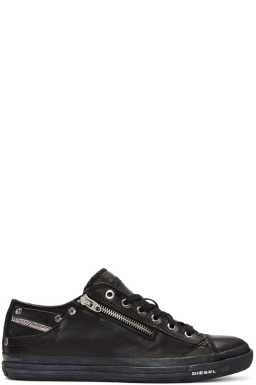 Diesel - Black Leather Expo-Zip Sneakers