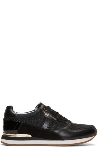 Dolce & Gabbana - Black Glitter Panelled Sneakers