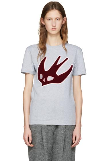 McQ Alexander Mcqueen - Grey Varsity Swallow T-Shirt