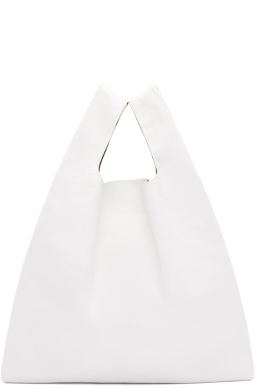 MM6 Maison Margiela - White Faux-Leather Tote