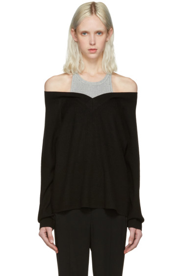 T by Alexander Wang - Black Merino Layered Pullover
