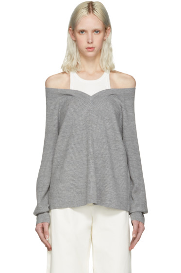 T by Alexander Wang - Grey Merino Layered Pullover