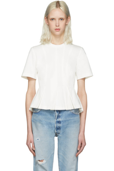 T by Alexander Wang - White Peplum Pullover