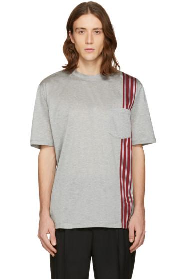 Lanvin - Grey Stripe Ribbon T-Shirt