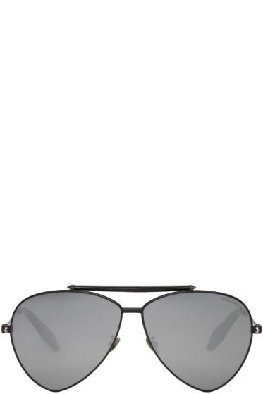 Alexander McQueen - Black Teardrop Aviator Sunglasses