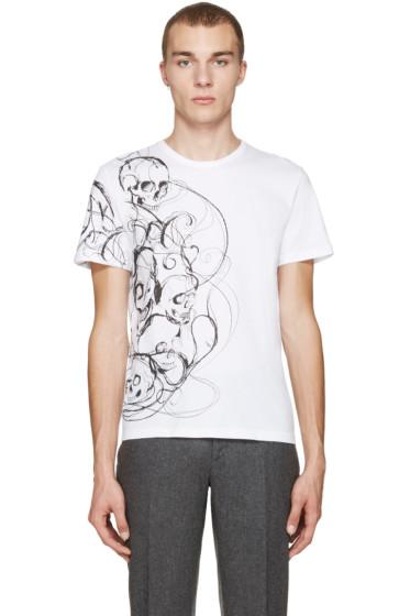 Alexander McQueen - White Skulls & Lines T-Shirt