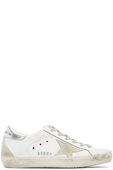 Golden Goose - White & Silver Superstar Sneakers