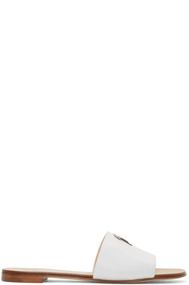 Giuseppe Zanotti - White Leather Logo Sandals