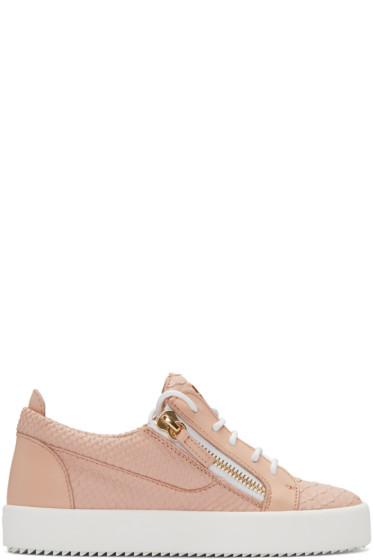 Giuseppe Zanotti - Pink Python-Embossed London Sneakers