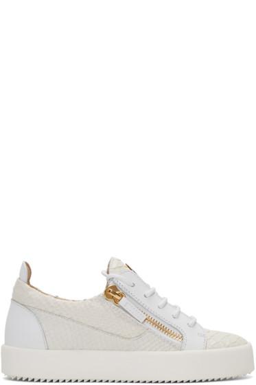 Giuseppe Zanotti - White Python-Embossed London Sneakers