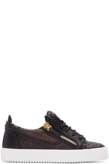 Giuseppe Zanotti - Black Python-Embossed London Sneakers