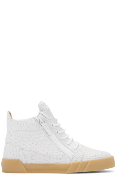 Giuseppe Zanotti - White Croc-Embossed London Mid-Top Sneakers
