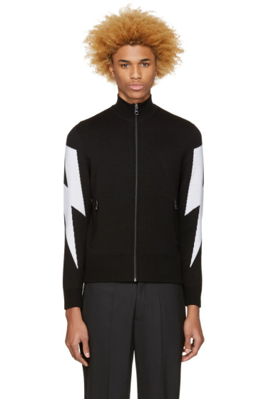Neil Barrett - Black Thunderbolt Zip-Up Sweater