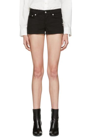 Versus - Black Denim Safety Pin Shorts