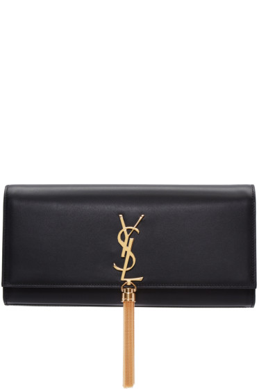 Saint Laurent - Black Leather Kate Tassel Clutch
