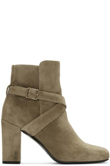 Saint Laurent - Tan Strap Babies Boots