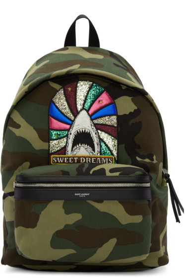 Saint Laurent - Green Camouflage Sweet Dreams City Backpack