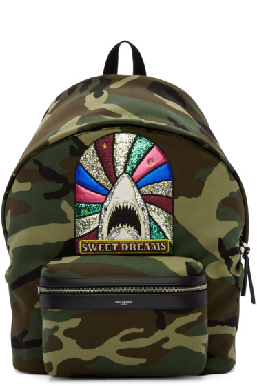 Saint Laurent - Green Camouflage Sweet Dreams Giant City Backpack