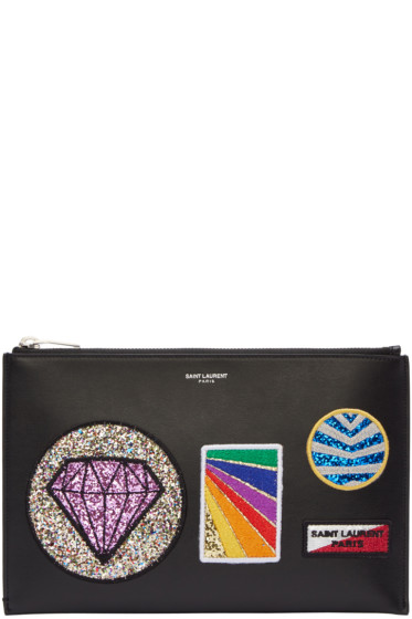 Saint Laurent - Black Multi Patch Mini Paris Tablet Holder