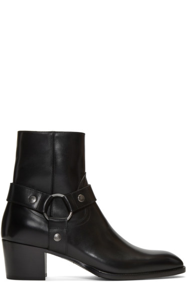 Saint Laurent - Black Leather Wyatt Harness Boots