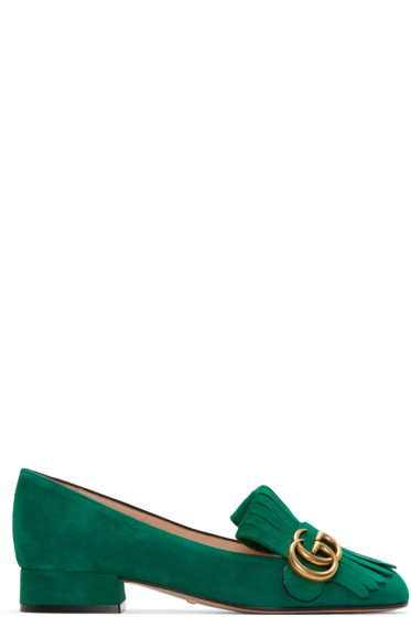Gucci - Green Fringe Marmont Loafer
