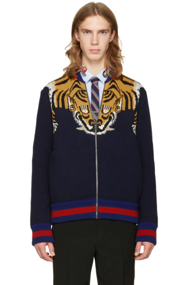 Gucci - Navy Tiger Zip-Up Sweater