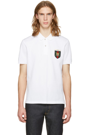 Gucci - White Embroidered Tiger Crest Polo