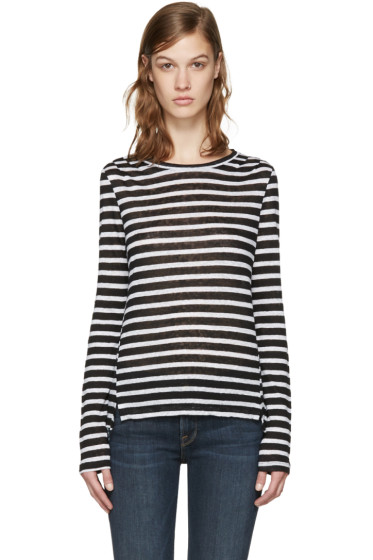 Frame Denim - White & Black Striped Pintuck T-Shirt