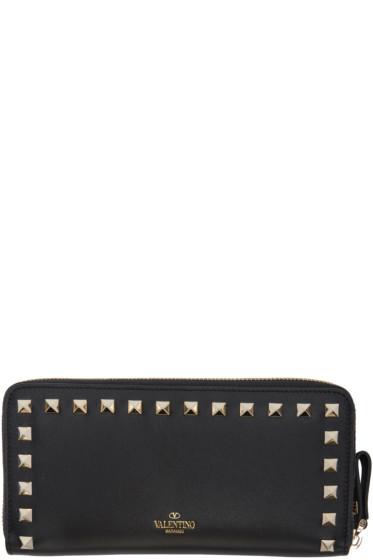 Valentino - Black Rockstud Continental Wallet