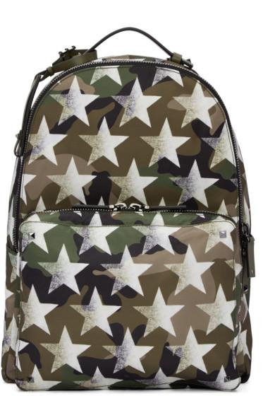 Valentino - Green Camustars Backpack