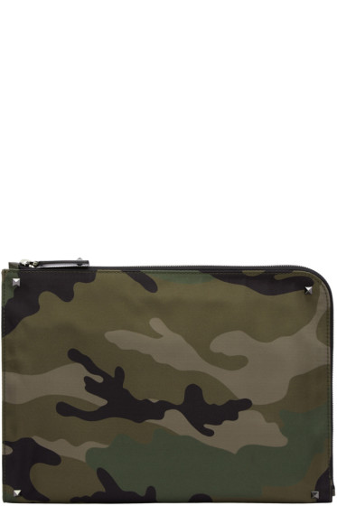 Valentino - Green Camouflage Zip Pouch