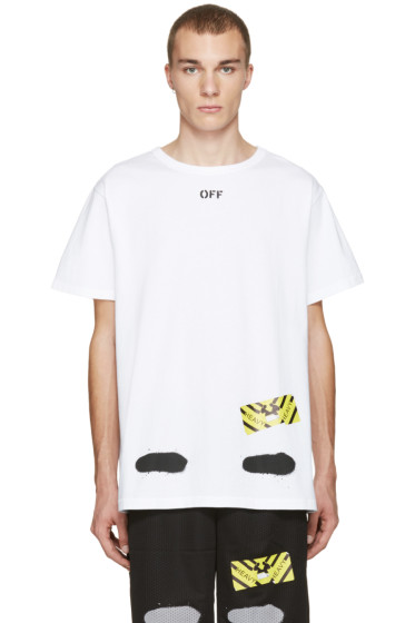 Off-White - White Diagonal Spray T-Shirt