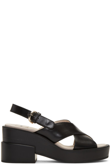 Jil Sander Navy - Black Chunky Criss-Cross Sandals