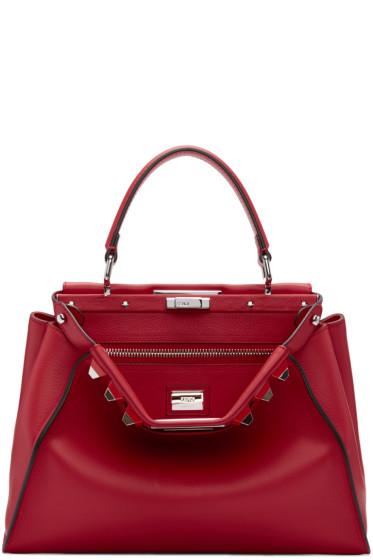 Fendi - Red Studded Peekaboo Bag