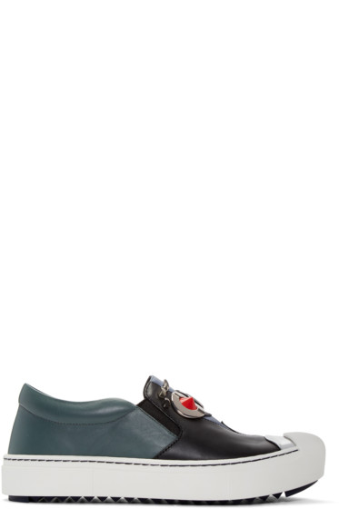 Fendi - Black & Grey 'Fendi Faces' Slip-On Sneakers